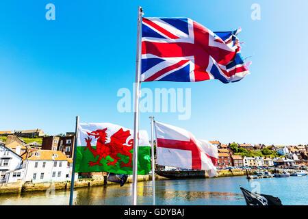 Union Jack flag Welsh Flag St George flag flags of United Kingdom UK UK England GB - Stock Photo