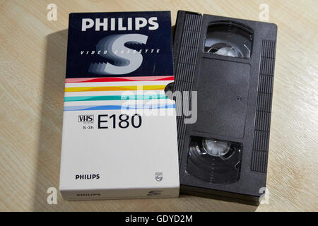 philips e180 video VHS blank cassette tapes - Stock Photo