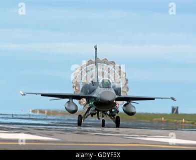Turkish Air Force F16 Jet Aircraft Serial Reg 07-1020 with parachute air brake deployed RAF Lossiemouth Exercise - Stock Photo