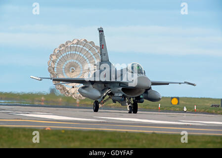 Turkish Air Force F16 Jet Aircraft Serial Reg 07-1005 with parachute air brake deployed RAF Lossiemouth Exercise - Stock Photo