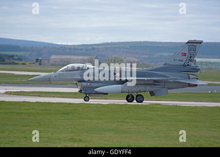 Turkish Air Force F16 Jet Aircraft Serial Reg 07-1002 RAF Lossiemouth Joint Warrior Exercise 2016.  SCO 10,758. - Stock Photo