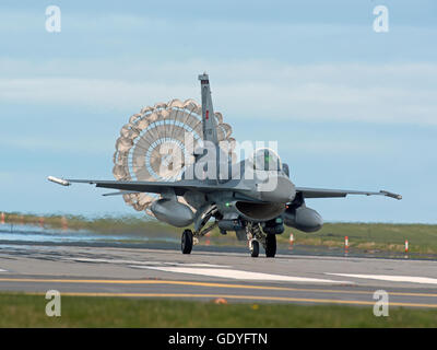 Turkish Air Force General Dynamics F16 Single seat Jet fighter Air Brake chute deployed RAF Lossiemouth Exercise. - Stock Photo