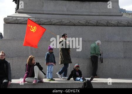 International Workers' Day in London's Trafalgar Square. - Stock Photo