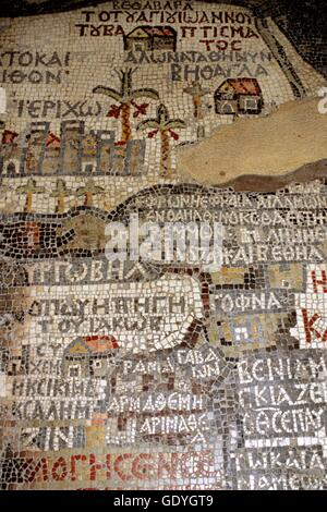 St George church, Madaba, Jordan. Byzantine mosaic of 560 AC. Mosaic map of Holy Land (560), St. George greek Orthodox - Stock Photo