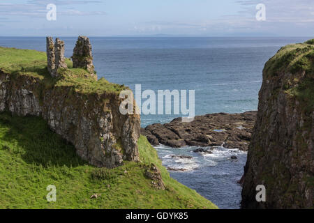 Dunseverick Castle in County Antrim, Northern Ireland. Located near the small village of Dunseverick and the Giant's - Stock Photo