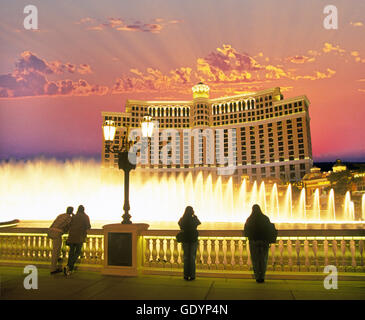 Evening light show from the Bellagio fountains at the Bellagio Hotel in Las Vegas, Nevada - Stock Photo