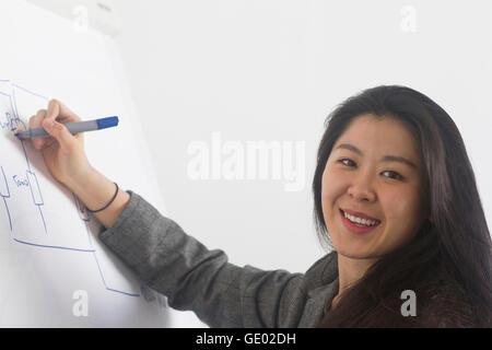 Young female engineer drawing on whiteboard in boardroom, Freiburg im Breisgau, Baden-Württemberg, Germany - Stock Photo