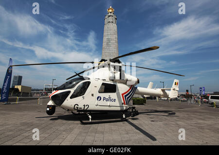 Belgian police département is showing their helicopter to the public during Belgian National Day parade in Brussels - Stock Photo