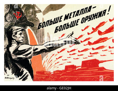 1940's Russian WW2 propaganda poster showing their industrial manufacturing might with tanks and airplanes - Stock Photo
