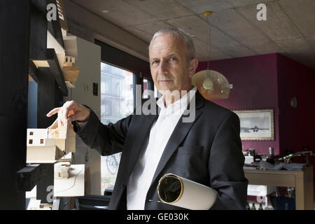 Portrait of a senior architect with architectural model in the office, Freiburg im Breisgau, Baden-Württemberg, - Stock Photo