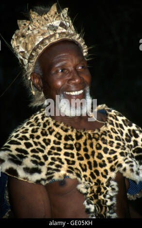 Portrait of Chief Gilenya Biyela, Zulu chief of the Simunye kraal. Kwazulu Natal, South Africa. - Stock Photo