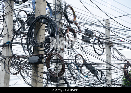 tangled power cables on a power pole kochi kochi india stock rh alamy com India Telephone Wiring Mess Electrical Wiring in India