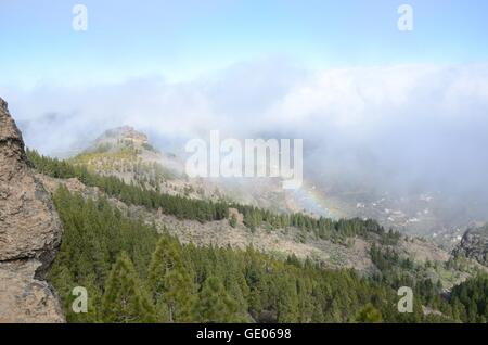 Rain bow, mountains, Gran Canaria, hiking, forest, trees, rocks, stone, panorama, clouds, mist - Stock Photo