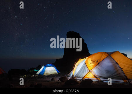 Tents at Lava Tower Camp at night, Mount Kilimanjaro National Park, Tanzania - Stock Photo