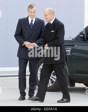 The Duke of Edinburgh is greeted by Lord-Lieutenant for Hampshire Nigel Atkinson, upon arriving for a visit to Britain's - Stock Photo