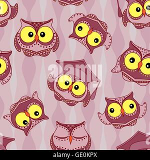 Amusing owls with big yellow eyes on the wavy background, seamless vector pattern - Stock Photo