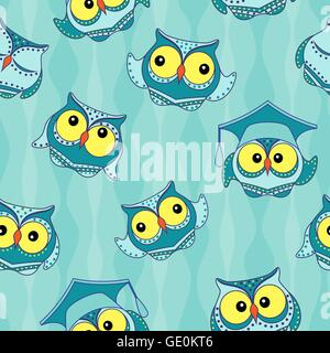 Amusing blue owls with big yellow eyes on the light blue wavy background, seamless vector pattern - Stock Photo