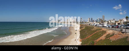Israel: Tel Aviv seafront, Mediterranean Sea and beaches seen from Old Jaffa - Stock Photo