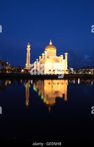 the Omar Ali Saifuddien Mosque in the city of Bandar seri Begawan in the country of Brunei Darussalam on Borneo - Stock Photo