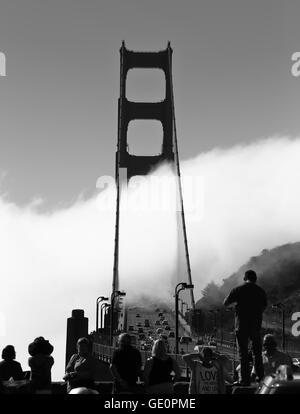 Foggy Golden Gate - Monochrome - Stock Photo
