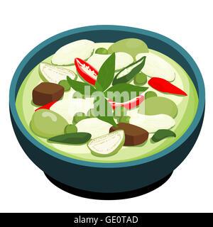 Green Chicken Curry popular Thai food vector illustration - Stock Photo