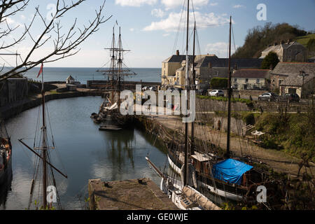 Tall ships in historic harbour, Charlestown, near St Austell, Cornwall, England, United Kingdom, Europe - Stock Photo