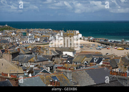 View over old town and harbour with St Ia's church, St Ives, Cornwall, England, United Kingdom, Europe - Stock Photo