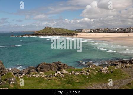 Porthmeor beach and The Island, St Ives, Cornwall, England, United Kingdom, Europe - Stock Photo