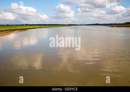 High tide looking upstream Butley Creek river, Suffolk, England, UK - Stock Photo