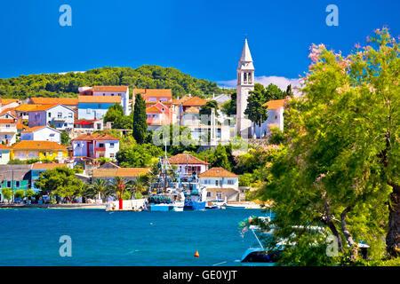 Kali harbor and waterfront summer view, Island of Ugljan, Croatia - Stock Photo
