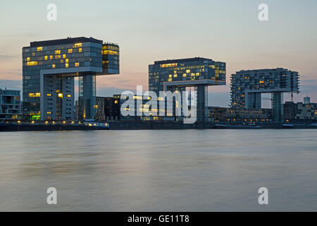 geography / travel, Germany, North Rhine-Westphalia, Cologne, crane houses in the Rheinauhafen, view from Koeln - Stock Photo