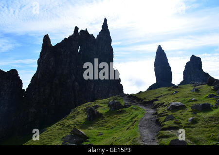 Hiking trail up to the Old Man of Storr - Stock Photo