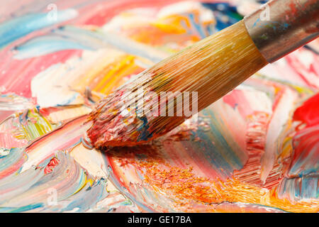 Close Up of Oil Painting with Brush Strokes. - Stock Photo