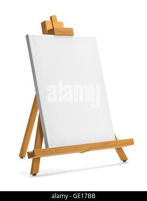 Painting Canvas and Easel with Copy Space Isolated on White Background. - Stock Photo