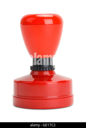 Red Rubber Stamper Isolated on White Background. - Stock Photo