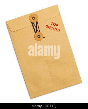 Top Secret Tied Sealed Envelope Isolated on White Background. - Stock Photo