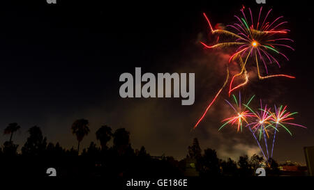 4th of July fireworks. Photographed in Studio City Los Angeles, California - Stock Photo
