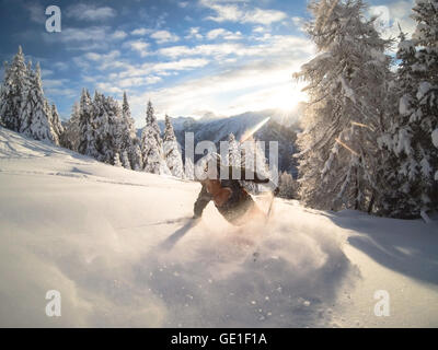 Man powder skiing, Alps, Zauchensee, Austria - Stock Photo