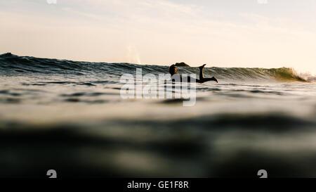 Woman in ocean paddling on surfboard, Malibu, California, America, USA - Stock Photo