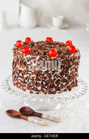 Black forest cake with cherries. - Stock Photo