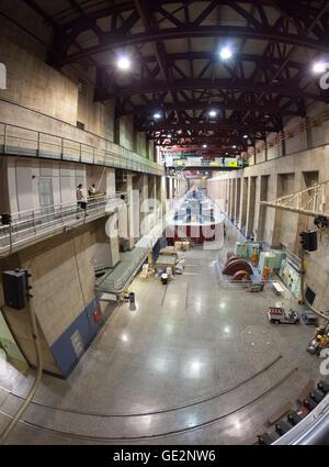 Fisheye lens picture of Hoover Dam interior with generators. - Stock Photo