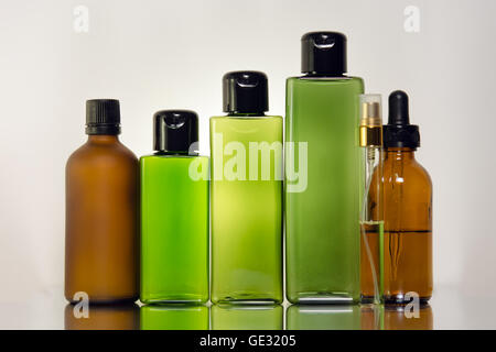 Blank glass and plastic bottles - Stock Photo