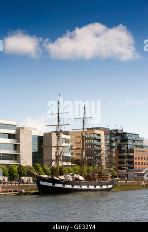 Ireland, Dublin, Jeanie Johnston ship, replica 3 masted barque moored at Custom House Quay on River Liffey - Stock Photo