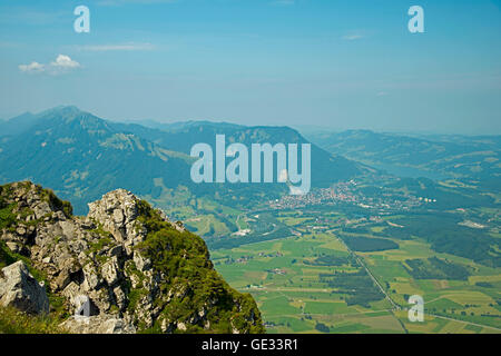 geography / travel, Germany, Bavaria, panoramic view from the Grünten into Iller Valley, Additional-Rights-Clearance - Stock Photo