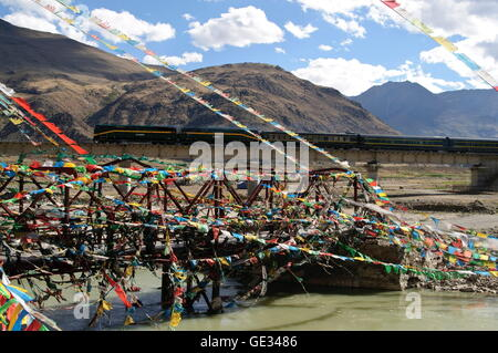 geography / travel, China, Tibet, Tsurphu, Qinghai-Tibet Railway, Additional-Rights-Clearance-Info-Not-Available - Stock Photo