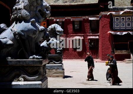 geography / travel, China, Tibet, Sakya, monastery, exterior view, inner courtyard, Additional-Rights-Clearance - Stock Photo
