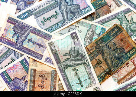 Myanmar (Burma) money, old and new kyat banknotes. - Stock Photo