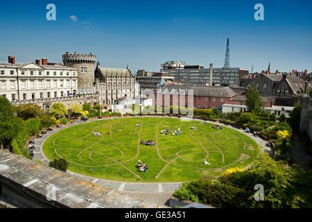 Ireland, Dublin, Dublin Castle, elevated view of Dubhlinn Gardens from Chester Beatty Library Roof Garden - Stock Photo