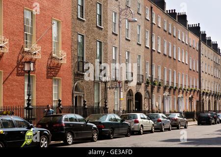 Ireland, Dublin, Ely Place, terrace of elegant four storey Georgian properties - Stock Photo