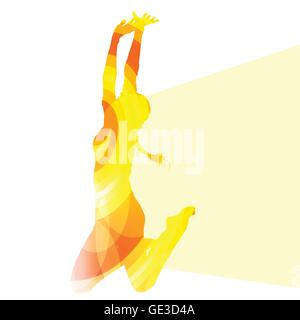 Jumping woman silhouette illustration vector background colorful concept made of transparent curved shapes - Stock Photo